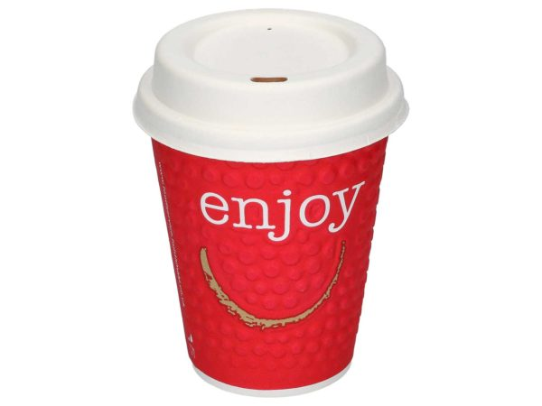 Enjoy pappbeger rød med lokk HotCoffee